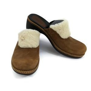 Ecco Sherpa Leather Clogs Mules Wedge Shoes Size 9